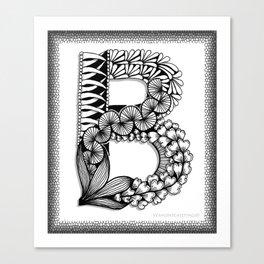 Zentangle B Monogram Alphabet Initial Canvas Print