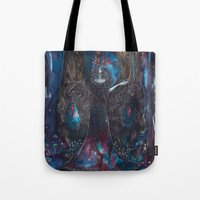 sylvia plath Tote Bags featuring Sylvia by Circle of Wolves - Art by Jessica Luna