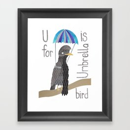 U is for umbrella Bird Framed Art Print