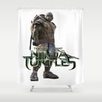 ninja turtle Shower Curtains featuring ninja,turtle by ira gora