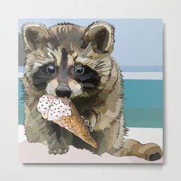 Raccoon Eating Ice-cream on the Beach | Summer Vacation | Cute Baby Animal Metal Print