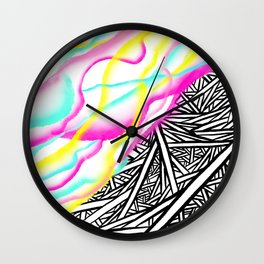 Abstract rainbow neon watercolor paint contrast black white geometric hand drawn stripes pattern Wall Clock