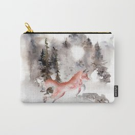 Fox Gamboling In The Mountain Mist Carry-All Pouch
