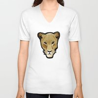 lesbian V-neck T-shirts featuring The Lesbian & the Lioness by BinaryGod.com