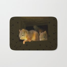 Young squirrels peering out of a nest #decor #buyart #society6 Bath Mat