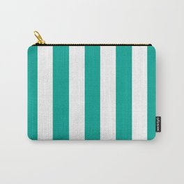 Persian green - solid color - white vertical lines pattern Carry-All Pouch