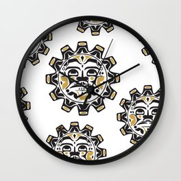 Northwest Pacific American Native Totem In Gold No. 15 Wall Clock