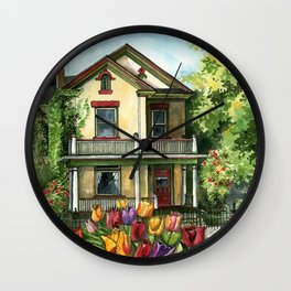 Farmhouse with Spring Tulips Wall Clock