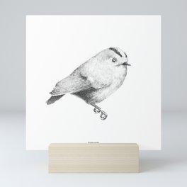 Goldcrest (Regulus regulus) - grey Mini Art Print