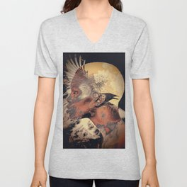 PORTRAIT (Woman and bird) Unisex V-Neck