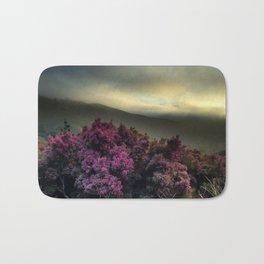 Pink Flowers with Fog Bath Mat