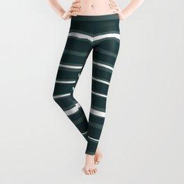 Teal and White Variable Stripes Leggings