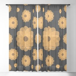 Orange Flowers Against the Night Sheer Curtain