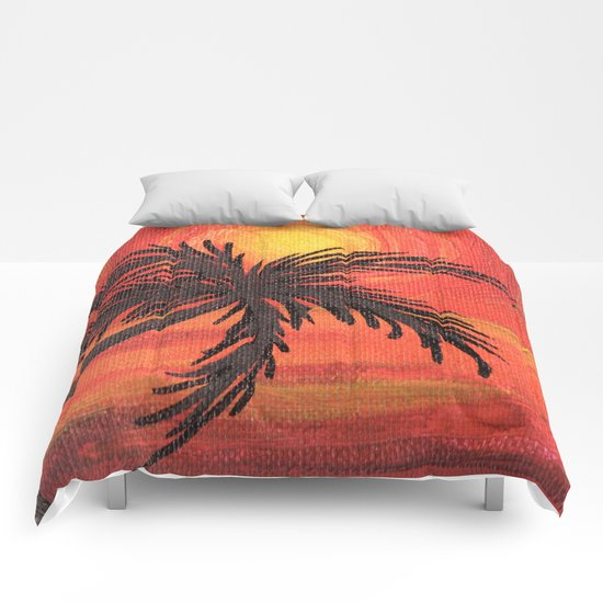 Red Palm Sunset Comforters