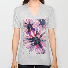 Floral Pattern in Fresh Bright Colours.Cute Flower Print. Unisex V-Neck