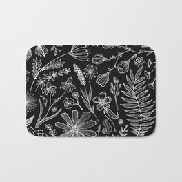 Floral Pattern II Black and White Bath Mat