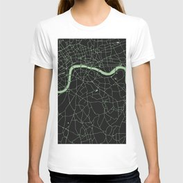 London Black on Green Street Map T-shirt