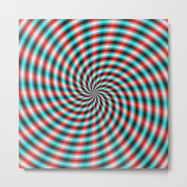 Turquoise and Red Spiral Rays Metal Print