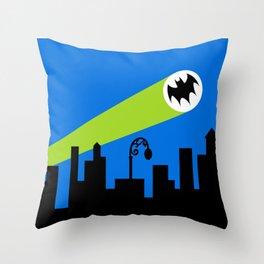 1966 Bat TV Show End Credits Art Throw Pillow