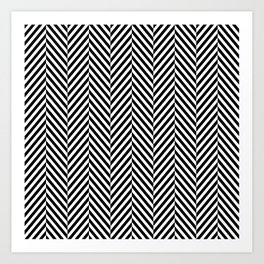 Classic Black & White Herringbone Pattern Art Print