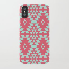 aztec Inspired Pattern Teal & Pink iPhone Case