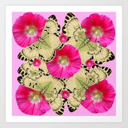 PINK ON PINK HOLLYHOCK FLORAL & YELLOW-BLACK BUTTERFLY Art Print