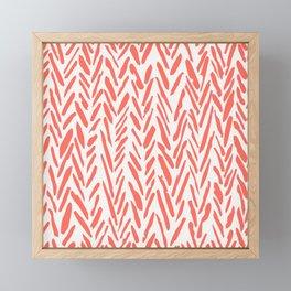 Boho mudcloth herringbone pattern - living coral Framed Mini Art Print