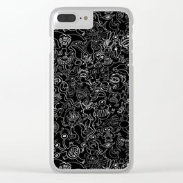Crazy monsters in a crowded pattern Clear iPhone Case