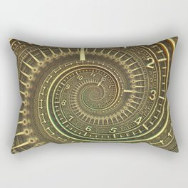 Bronze Metallic Ornate Spiral Time Machine Rectangular Pillow