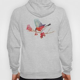 Bullfinch bird with ashberry Hoody