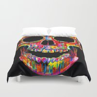 skull Duvet Covers featuring Chromatic Skull by John Filipe