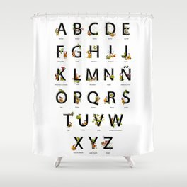 Spanish Alphabet Shower Curtain