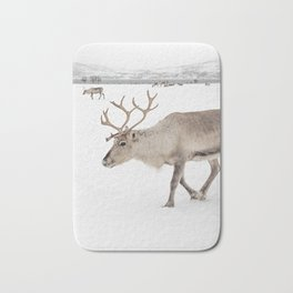 Reindeer in The Snow In Wintertime Photo Art Print | North Of Norway Lapland | Travel Photography Bath Mat