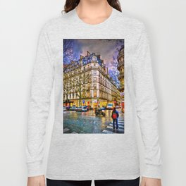 Rainy evening in Paris, France Long Sleeve T-shirt