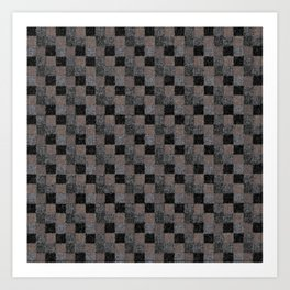 Rustic Black and Tan Patchwork Art Print