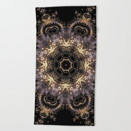 Purple and Gold Fractal Kaleidoscope 2 Beach Towel