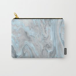 Ice Blue and Gray Marble Carry-All Pouch