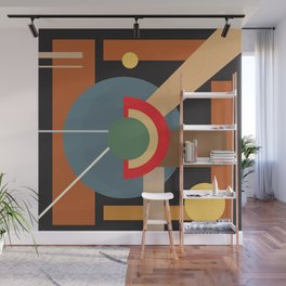 Abstract geometric composition study- clocks Wall Mural