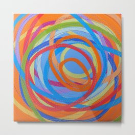 In a Spin - blue on orange Metal Print