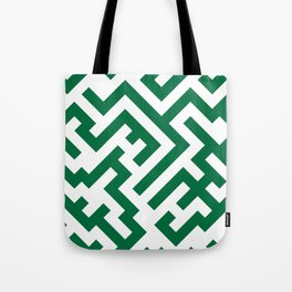 White and Cadmium Green Diagonal Labyrinth Tote Bag