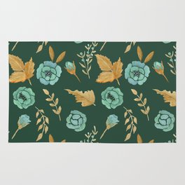 Watercolor floral turqiouse roses print Rug