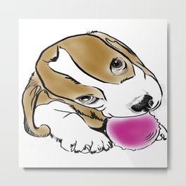 Bailey beagle puppy Metal Print