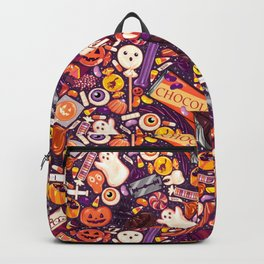 Creepy Halloween Candy on Purple Backpack