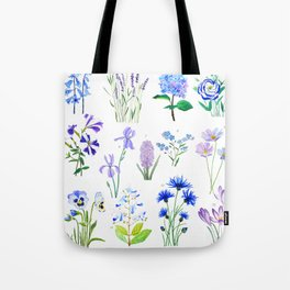 blue and purple flower collection watercolor Tote Bag