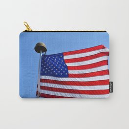 United States flag waving with a military helmet on the mast Carry-All Pouch
