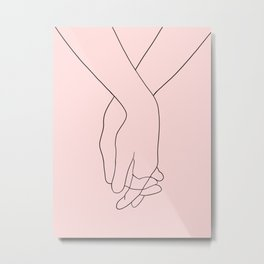 pink holding hands Metal Print