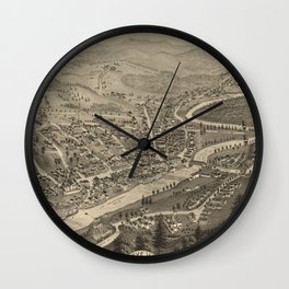 Vintage Pictorial Map of Littleton NH (1883) Wall Clock