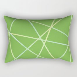 Lines 92 - lime and pale turquoise on greenery Rectangular Pillow