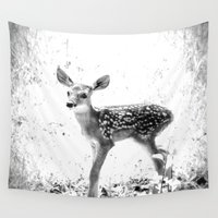 fawn Wall Tapestries featuring fawn by 2sweet4words Designs