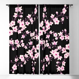 Cherry Blossom Pink Black Blackout Curtain